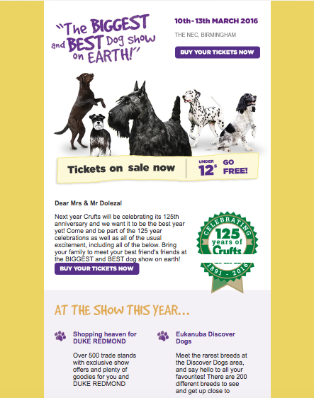 Crufts Personalised Email Campaign